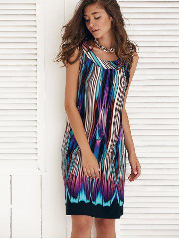 Outfit Sleeveless Multi Color Knee Length Shift Dress - XL COLORMIX Mobile