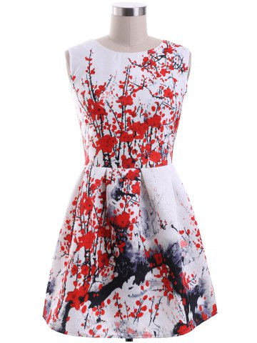Unique Ladylike Round Neck Sleeveless Plum Blossom Print Women's Dress RED XL