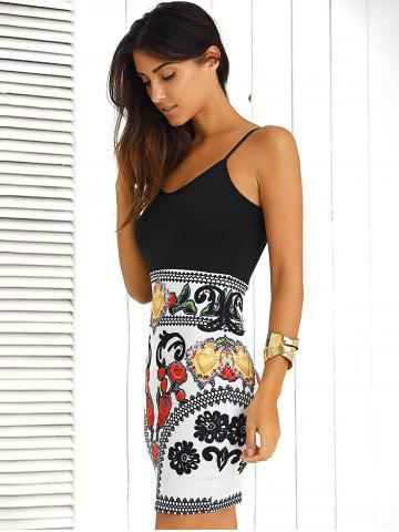 Sale Color Block Floral Sleeveless Mini Bodycon Dress - L BLACK AND WHITE AND RED Mobile