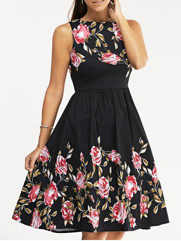 Affordable Retro Rose Floral Party Skater Dress BLACK S