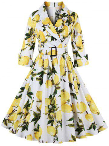 Fashion Vintage High Waist Lemon Print Dress WHITE S