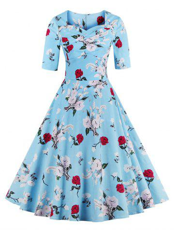 Chic Vintage Sweetheart Neck Floral Pattern Skater Dress WATER BLUE S