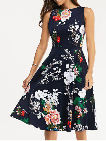 Trendy Floral Print Vest Midi Flare Dress DEEP BLUE S