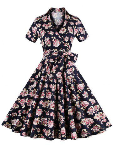 Latest Vintage Tie-Waist Floral Print Women's Dress CADETBLUE 4XL
