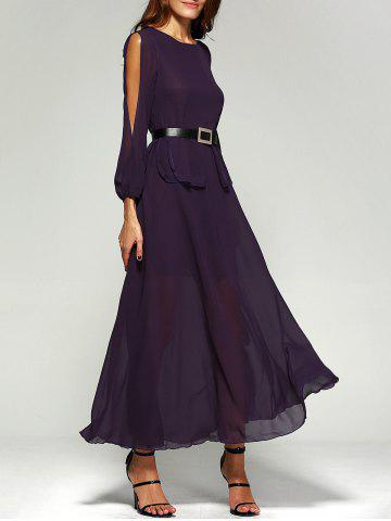 Latest Chiffon Split Sleeve Long Swing Evening Dress PURPLE XL