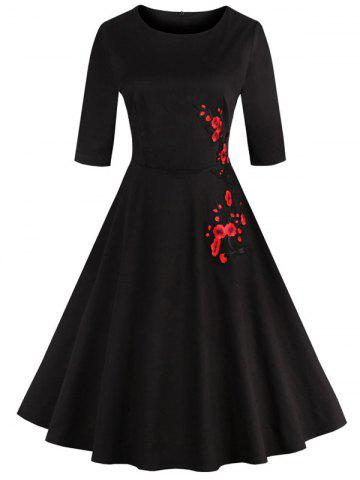 Retro Style High Waist Floral Embroidery Dress - Black - M