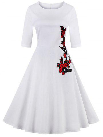 Shops Retro Style High Waist Floral Embroidery Dress WHITE 4XL