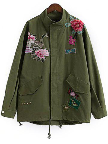 New Floral Utility Jacket ARMY GREEN M
