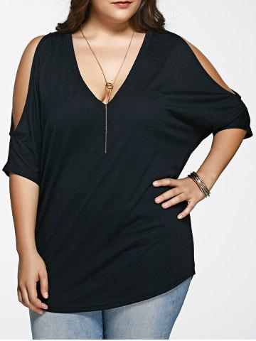 Fashion Plus Size Long Cold Shoulder Loose Fitting V Neck T-Shirt