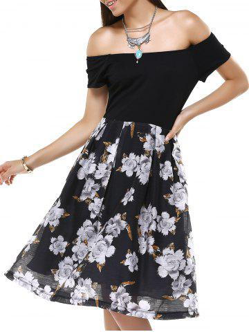 Unique Vintage Off-The-Shoulder Floral Pleated Dress For Women
