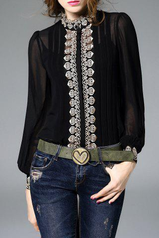 Shop Fitting Embroidered Shirt With Cami Tank Top BLACK M