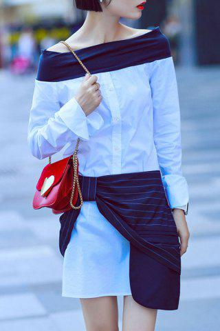Off The Shoulder Long Sleeve Top and Stripe Skirt