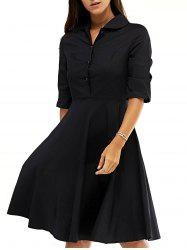 Retro Women's Pure Color Buttoned Flare Dress - BLACK L