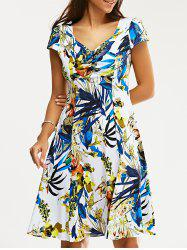 Retro Women's V-Neck Ruched Floral Print Flare Dress