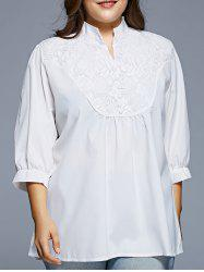 Grace Lace Splicing 1/2 Sleeve Women's Plus Size Blouse