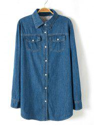 Plus Size Brief Buttoned Long Denim Shirt