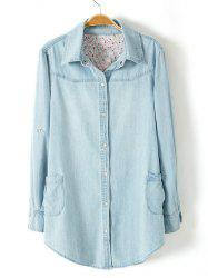 Plus Size Trendy Adjustable Sleeve Denim Shirt
