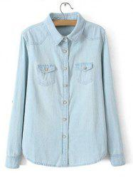 Plus Size Flap Pockets Button Up Jeans Shirt - LIGHT BLUE