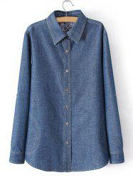 Plus Size Casual Slash Pockets Denim Shirt