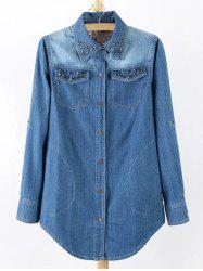 Plus Size Chic Stud Embellished Denim Tunic Shirt -