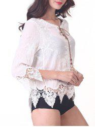 Chic 3/4 Sleeve Lace-Up Asymmetric Cover-Up
