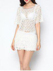 Chic Crochet Cut Out Cover-Up Top -