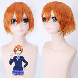 Vogue droites courtes orange Anime Love Live Hoshizora Rin Uniforme Style de perruque cosplay - Orange
