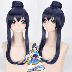 Blue Mixed Black Synthetic Love Live Sonoda Umi Awake Seven God Cosplay Wig With Chignons