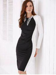 Chic Long Sleeve White and Black Women's Bodycon Dress -
