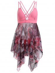 Alluring Criss-Cross Beauty Print High Low One-Piece Swimsuit - PINK