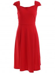 Vintage Sleeveless Sweetheart Neck Solid Color Dress For Women -