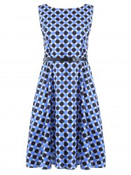 Vintage Round Neck Polka Dot Print Sleeveless Dress For Women -