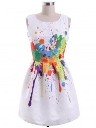 Sweet Colorful Print Round Collar Women's Dress -