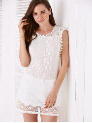 Simple Scoop Collar Sleeveless Solid Color See-Through Women's Dress -