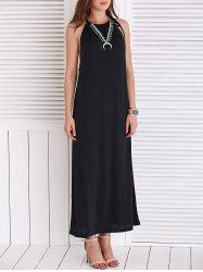 Chic Strappy Loose-Fitting Black Maxi Dress For Women