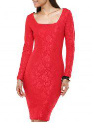 Ladylike Long Sleeve Jacquard Bodycon Dress For Women -