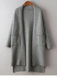 Pocket Design High-Low Pure Color Cardigan -