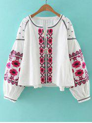 Bohemian Style Embroidery Lace Up Jacket -