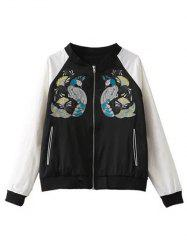 Peacock Embroidery Color Block Jacket -