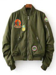 Fruits Badge Embellished Bomber Jacket - GREEN