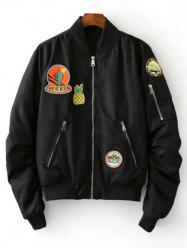 Fruits Badge Embellished Bomber Jacket - BLACK