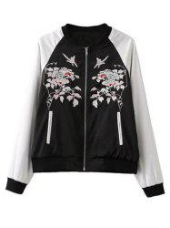 Floral Embroidery Bomber Jacket -