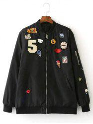 Patch Embellished Bomber Jacket