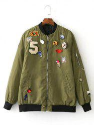 Patch Embellished Bomber Jacket -