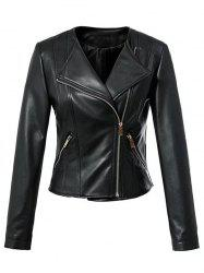 Cool Zipper Design All Black Jacket -