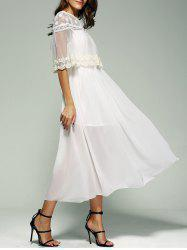 Crochet Voile Chiffon Prom Swing Maxi Dress