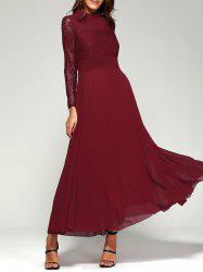 Lace Panel Long Sleeve Chiffon Maxi Formal Prom Dress - WINE RED