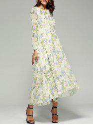 Floral Printed Long Sleeve Asymmetrical Maxi Dress -