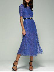 Lace Low Back Tea Length Wedding Guest Dress