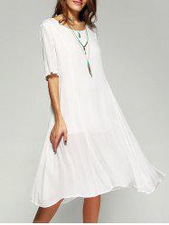 Pure Color Casual Dress with Half Sleeves